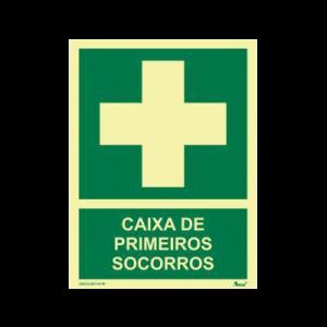 Placa sinalização primeiros socorros